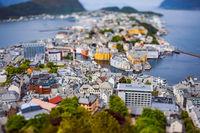 Aksla at the city of Alesund tilt shift lens, Norway