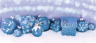 Blauer Weihnachten Panorama Header Hintergrund