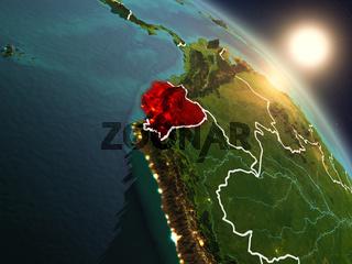 Ecuador from space during sunrise