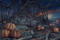 Design of Halloween night dark forest background