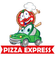 Pizza express delivery car cartoon
