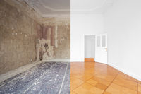 apartment room during renovation, before and after restoration /  refurbishment  -