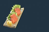 Salmon sashimi. Japanese food on black background