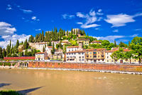 Verona cityscape from Adige river bridge view