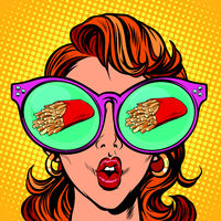 French fries serving. Woman reflection in glasses