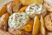 Baked Camembert cheese with potato