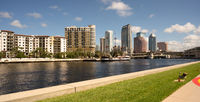 Marine Boat Ship Canal Downtown Urban Metro Skyline Tampa Bay Florida