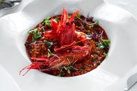 Giant prawns with rice