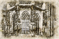 Digital artistic Sketch of a Cathedral