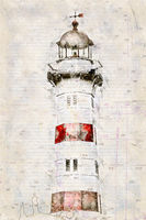 Digital artistic Sketch of a Lighthouse in Malmoe in Sweden