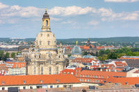 Aerial view over Dresden and the Frauenkirche
