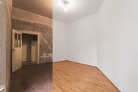 renovation  before and after  - empty apartment room, new and old