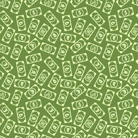 A lot of different bright money banknotes with common currency signs like us dollar, pound, yen, yuan, ruble, euro, rupee, rial and lira, green seamless pattern