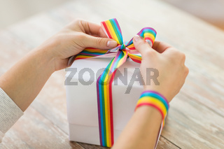 female hands and present with gay awareness ribbon