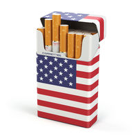 Cigarettes and tobacco in USA. Pack of cigarettes with a flag of USA isolated on white background.