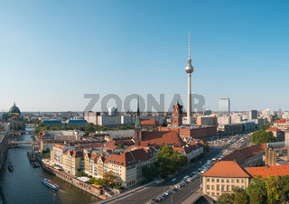 Berlin city skyline aerial with tv tower on summer day