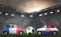 France and Croatia cars on football stadium