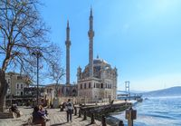 Istanbul, Turkey - March 26, 2019: View of Ortakoy mosque and Bosphorus bridge in Besiktas. Located at the waterside of the Ortakoy pier square, one of the most popular locations on the Bosphorus