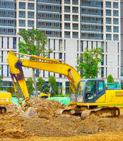 Excavators bulldozer industrial city Singapore