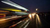 Night Time Traffic Long Exposure Light Streaks Public Transport Bus Bridge Twilight Afternoon