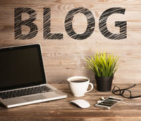 Blog text on working desk