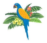 Colorful bird, parrot sitting in flowers and green leaves icon