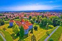 Historic town of Varazdin aerial panoramic view