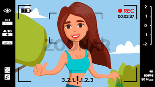Blogger Girl Records Video Blog Vector. Vlog Concept. Woman Online Internet Streaming Video. Handsome Female Leading Online Stream Channel. Flat Cartoon Illustration