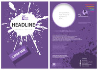 Template of a Purple Leaflet with a Splatter
