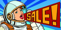 pop art woman astronaut sale