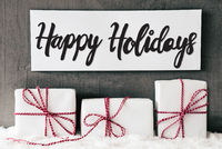 Three White Gifts, Sign, Calligraphy Happy Holidays, Snow