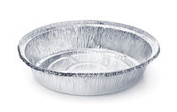 Empty disposable round aluminium food foil container