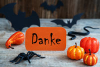 Orange Label, Text Danke Means Thank You, Scary Halloween Decoration