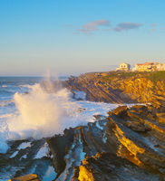Rock ocean wave town Portugal