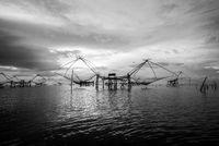 Black and white photo Songkhla Lake at sunrise, Thailand