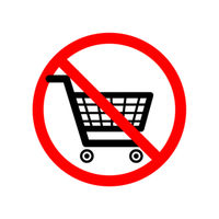 Shopping carts are not allowed, red forbidden sign on white