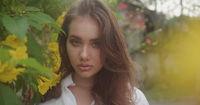 Fashion portrait of beautiful girl outdoors