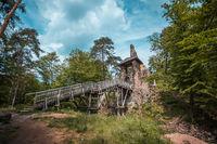 Castle ruin Zlenice with wooden bridge near Sazava river, Czech republic, Hrusice