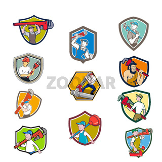 Plumber Mascot Crest Cartoon Set