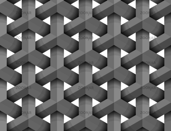 Abstract 3d geometric figures on white, seamless pattern
