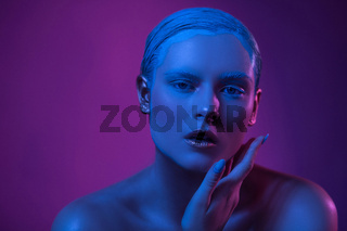 Sexy Opened Lips of High Fashioned Model in Neon Lights.
