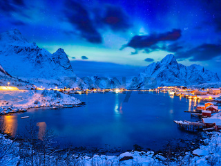 Reine village at night. Lofoten islands, Norway