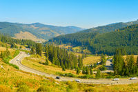 Cars on  mountains road  Romania