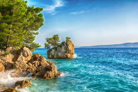 Beautiful Punta Rata beach in Brela, Makarska Riviera, Dalmatia, Croatia. Travel resort background. Summer vacatioan. Copy space