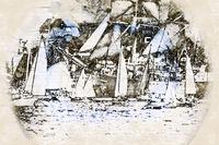 Digital artistic Sketch of Sailing Ships