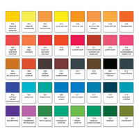 Aquarelle basic palette, set N°40. Main watercolor essential pigment samples with catalogue swatch numbers and names (on Russian).