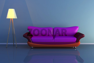 3d illustration of a lamp and a colourful sofa in a dark room.