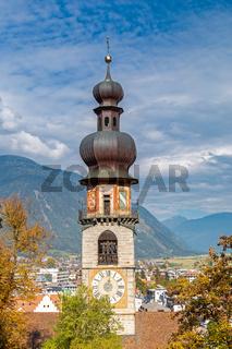 Turm der Rainkirche in Bruneck, Suedtirol