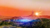 fantasy landscape scenery at dawn