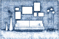 blue ballpoint pen doodle room with a sofa